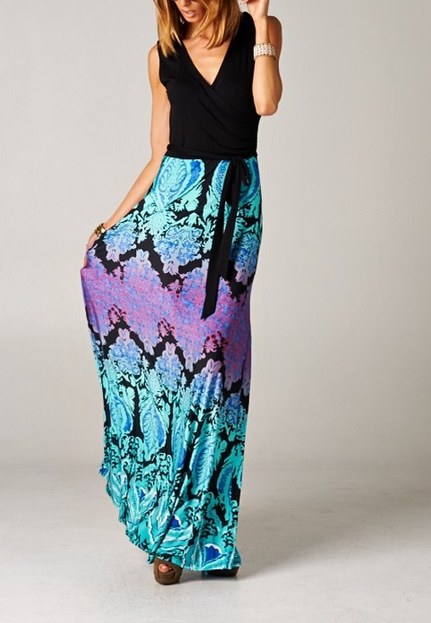 Damask Print Colorblock Maxi Dress (TALL)
