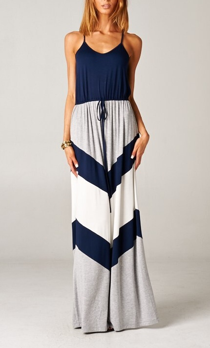 Nautical Chevron Print Nautical Dress (TALL)