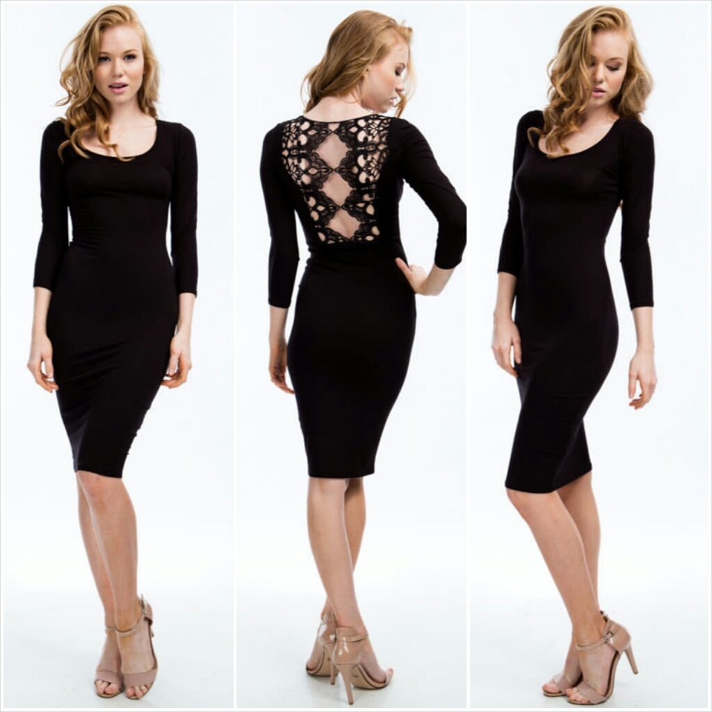 Ace The Lace Embroidered Midi Dress black