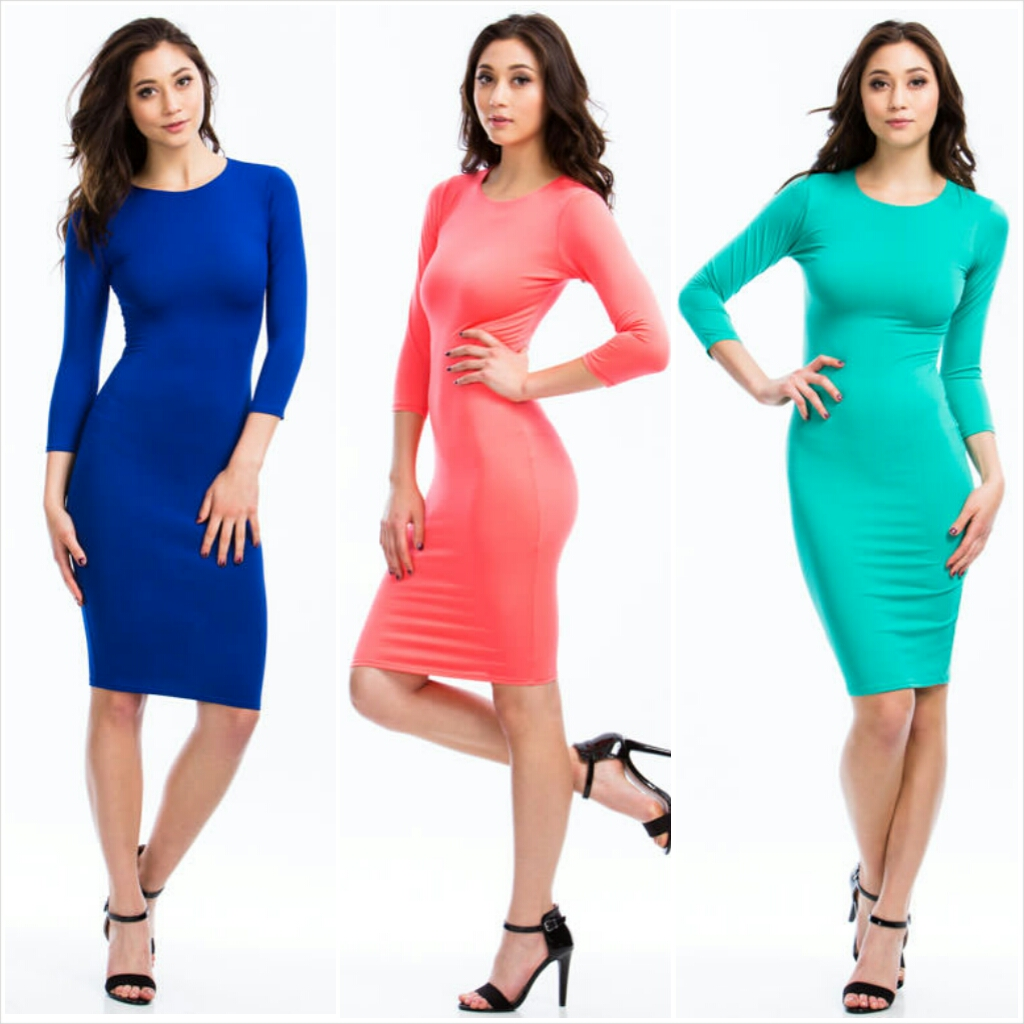 Basic Three-Quarter Bodycon Dress