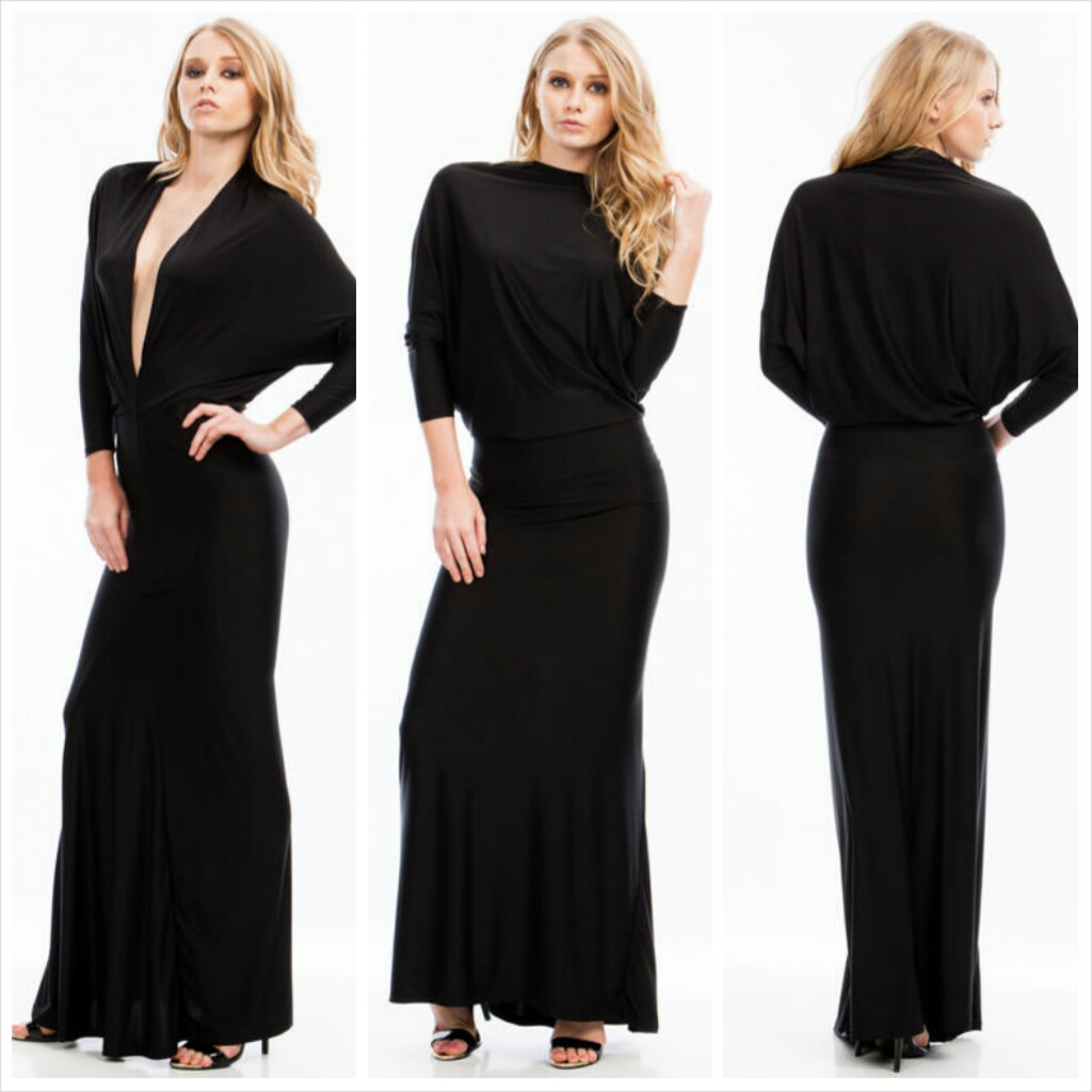 Draped Crusader Reversible Maxi Black