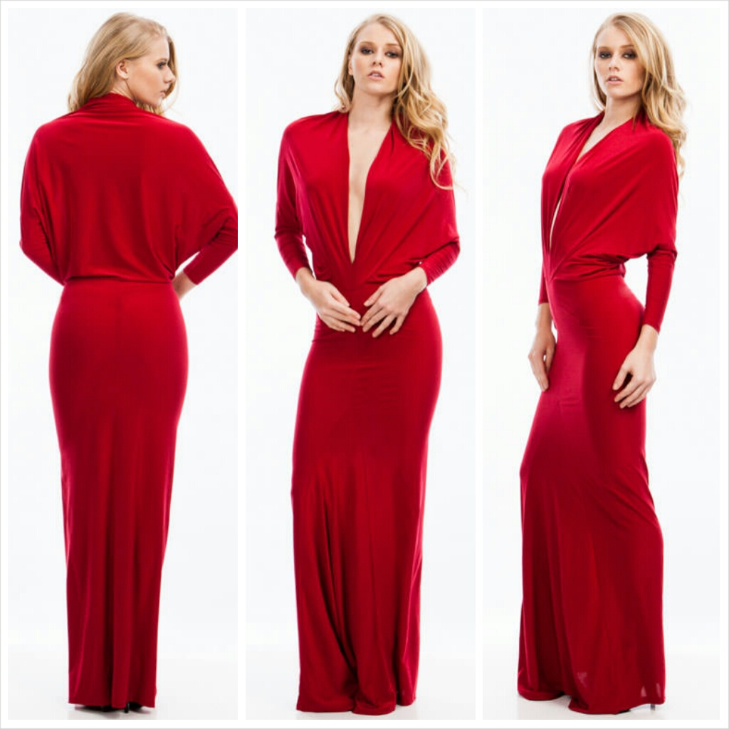 Draped Crusader Reversible Maxi Red