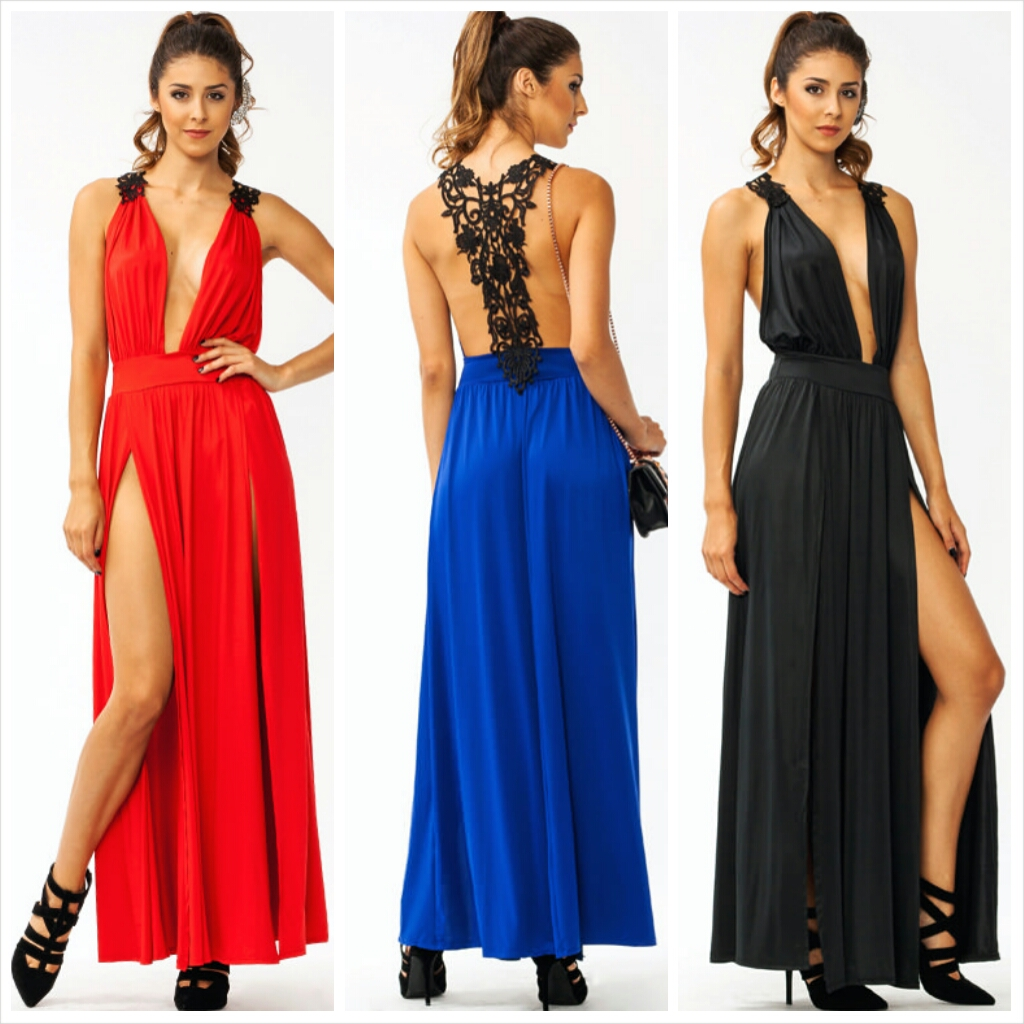 Hey Crochet Slit Maxi Dress