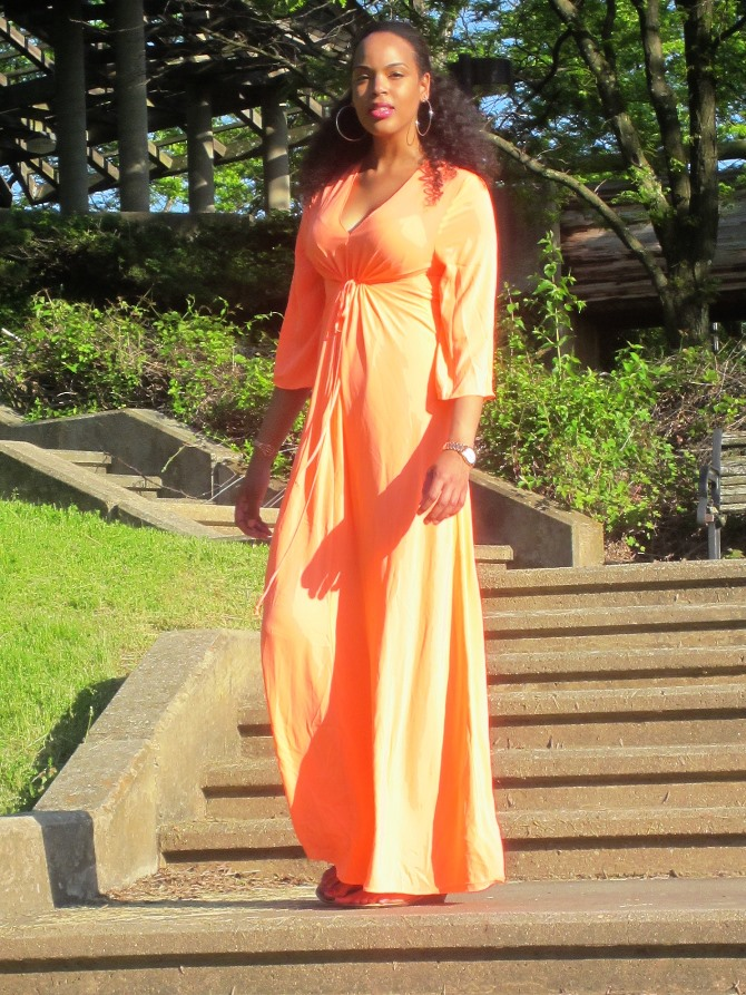 The Shoxie Collection Coral CINCHED FRONT MAXI DRESS