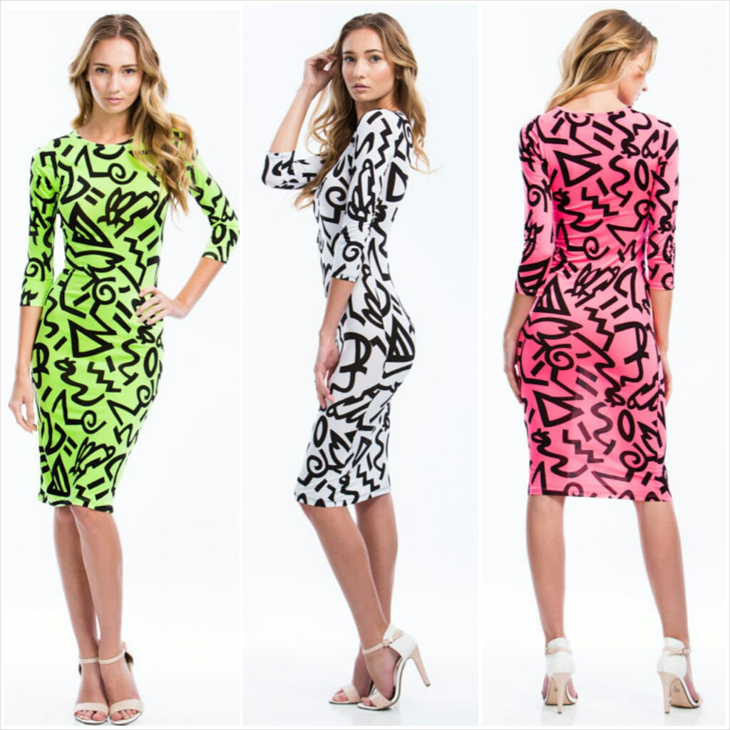 Pure And Symbol Graffiti Print Dress