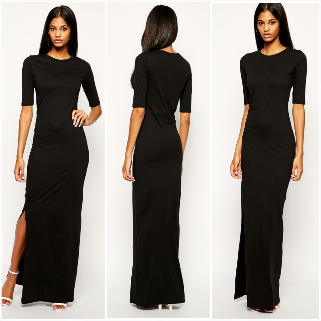 Asos Tall Short Sleeve Maxi Dress with Side Slit