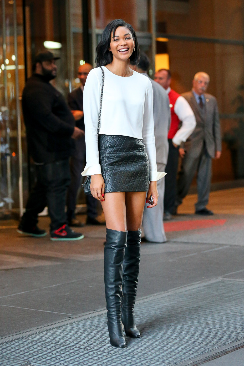 Tall Look For Less: Chanel Iman Quilted Leather Skirt and Over the ...
