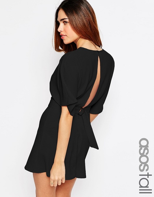 ASOS TALL Kimono Romper with Open Back and D-ring Back