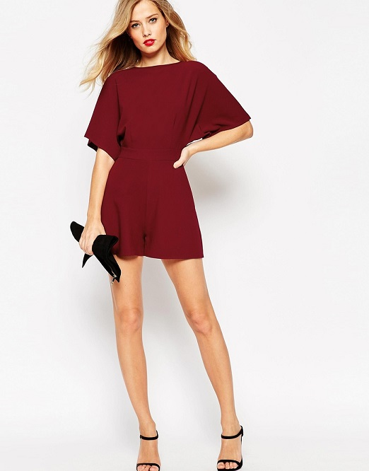 ASOS TALL Kimono Romper with Open Back and D-ring