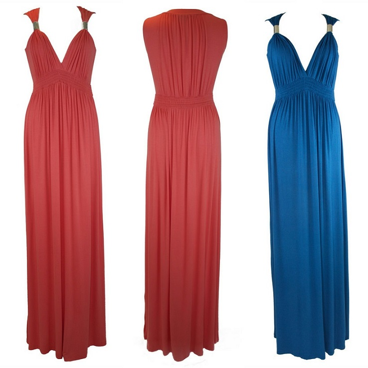 The Height Hauteur Coral Grecian Goddess Dress