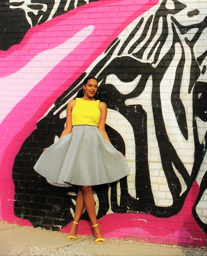 black-white-stripe-skirt-yellow-top