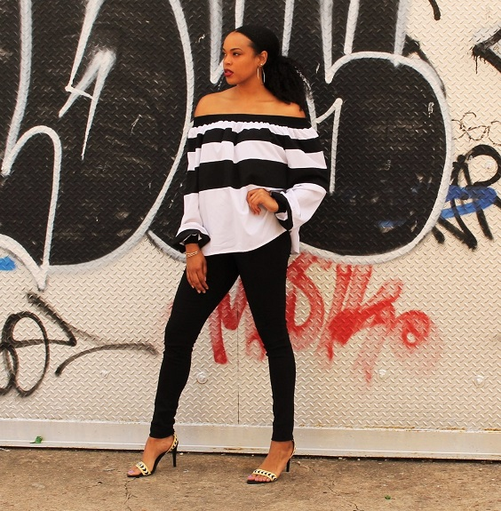 Black-White-Off-Shoulder-Blouse