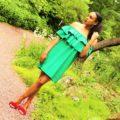 Green Off Shoulder Dress Red Fringe Heels