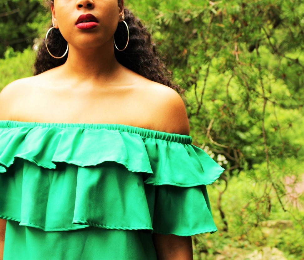 Green Off Shoulder Dress
