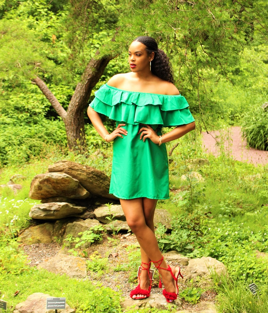 Tall Blogger The Tall Muse Green Off Shoulder Dress