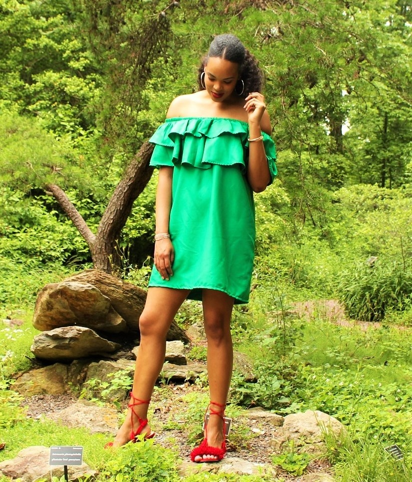 The Tall Muse Green Off Shoulder Dress Tall Blogger